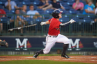 Mississippi Braves outfielder Matt Lipka (7) at bat during a game against the Pensacola Blue Wahoos on May 28, 2015 at Trustmark Park in Pearl, Mississippi.  Mississippi defeated Pensacola 4-2.  (Mike Janes/Four Seam Images)