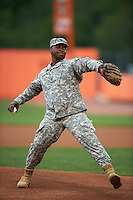 Aberdeen Ironbirds guest Major General Crawford throws out the ceremonial first pitch before a game against the Tri-City ValleyCats on August 6, 2015 at Ripken Stadium in Aberdeen, Maryland.  Tri-City defeated Aberdeen 5-0 in a combined no-hitter.  (Mike Janes/Four Seam Images)