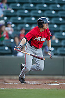 Alec Keller (9) of the Potomac Nationals drops his bat as he starts down the first base line during the game against the Winston-Salem Dash at BB&T Ballpark on May 13, 2016 in Winston-Salem, North Carolina.  The Dash defeated the Nationals 5-4 in 11 innings.  (Brian Westerholt/Four Seam Images)