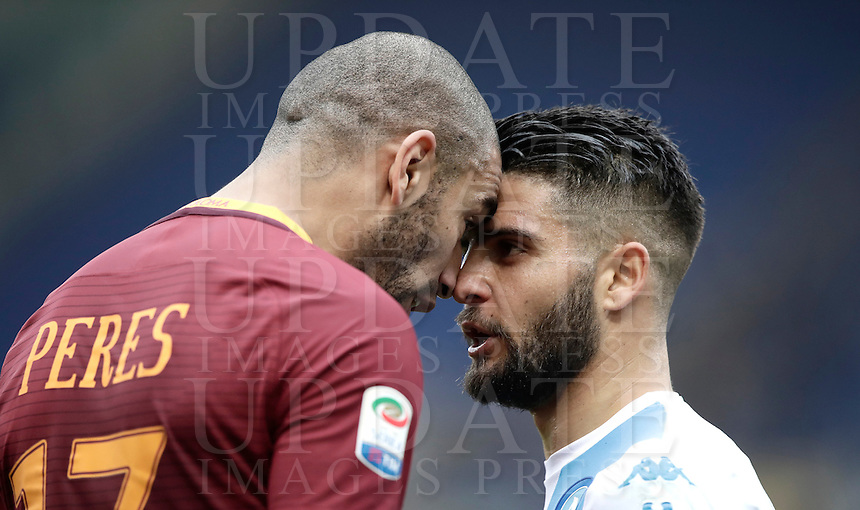 Roma's Bruno Peres, left, faces Napoli's Dries Mertens during the Italian Serie A football match between Roma and Napoli at Rome's Olympic stadium, 4 March 2017. <br /> UPDATE IMAGES PRESS/Isabella Bonotto