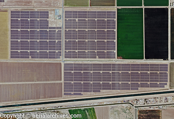 aerial photo map of Mount Signal Solar also known Imperial Valley Solar Project, Calexico, Imperial County, California, the All American Canal and US-Mexican border south of the solar farm