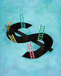 Illustrative image of dollar sign with ladders representing coming out from debt