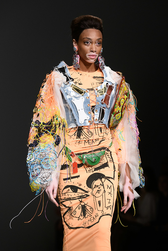 Winnie Harlow<br /> front row at the Matty Bovan London Fashion Week SS18 catwalk show, London<br /> <br /> ©Ash Knotek  D3431  14/09/2018