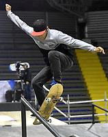 BOGOTA - COLOMBIA - 12 - 08 - 2017: Christian Flores, Skater de Venezuela, durante competencia en el Primer Campeonato Panamericano de Skateboarding, que se realiza en el Palacio de los Deportes en la Ciudad de Bogota. / Christian Flores,  Skater from Venezuela, during a competitions in the First Pan American Championship of Skateboarding, that takes place in the Palace of Sports in the City of Bogota. Photo: VizzorImage / Luis Ramirez / Staff.