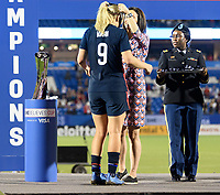 FRISCO, TX - MARCH 11: Lindsey Horan #9 of the United States receives her medal during a game between Japan and USWNT at Toyota Stadium on March 11, 2020 in Frisco, Texas.
