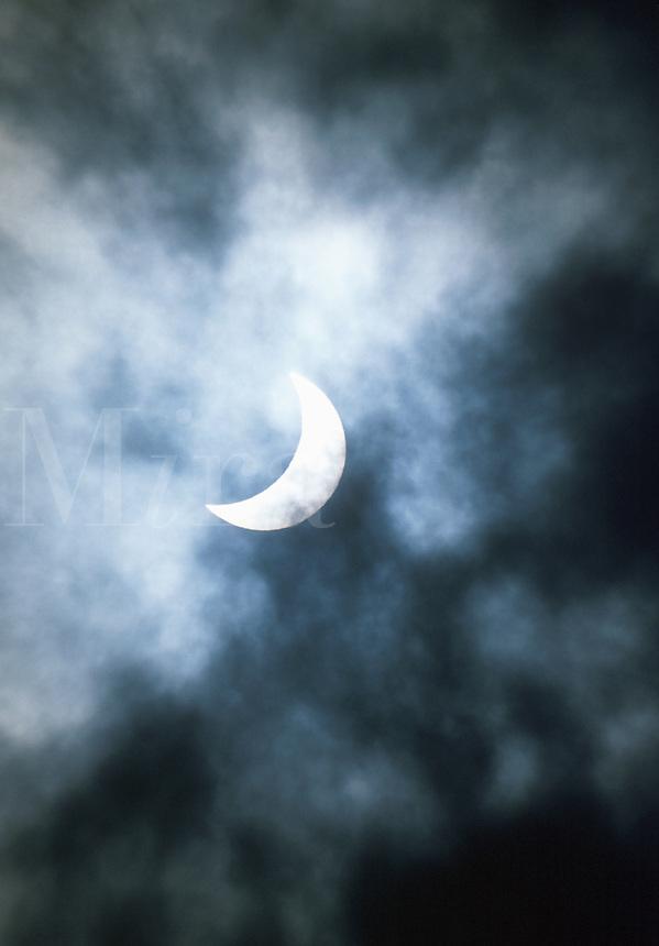 Night sky with quarter moon.