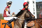 HOT SPRINGS, AR - March 18: Streamline #7 and jockey Chris Landeros are escorted in the post parade prior to the Azeri Stakes at Oaklawn Park on March 18, 2017 in Hot Springs, AR. (Photo by Ciara Bowen/Eclipse Sportswire/Getty Images)