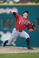 Indianapolis Indians relief pitcher Damien Magnifico (44) in action against the Columbus Clippers at Huntington Park on June 17, 2018 in Columbus, Ohio. The Indians defeated the Clippers 6-3.  (Brian Westerholt/Four Seam Images)