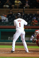 Scottsdale Scorpions third baseman Yandy Diaz (1) at bat during an Arizona Fall League game against the Mesa Solar Sox on October 20, 2015 at Scottsdale Stadium in Scottsdale, Arizona.  Mesa defeated Scottsdale 5-4.  (Mike Janes/Four Seam Images)