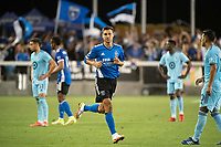 SAN JOSE, CA - AUGUST 17: Chris Wondolowski #8 of the San Jose Earthquakes enters the game during a game between San Jose Earthquakes and Minnesota United FC at PayPal Park on August 17, 2021 in San Jose, California.