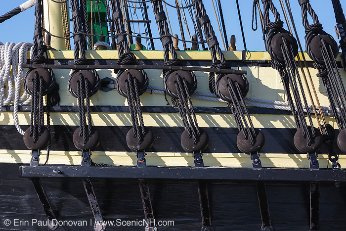 The Friendship of Salem Tall Ship (a replica of a 1797 East Indiaman ship) docked at Derby Wharf in Salem, Massachusetts USA. Derby Wharf is part of the Salem Maritime National Historic Site, which was the first National Historic Site in the National Park System.