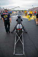 Aug 30, 2019; Clermont, IN, USA; NHRA pro stock motorcycle rider Jianna Salinas during qualifying for the US Nationals at Lucas Oil Raceway. Mandatory Credit: Mark J. Rebilas-USA TODAY Sports