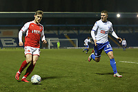 Fleetwood Town's Conor McAleny (left) vies for possession with Bury's Joe Skarz (right) during the The Checkatrade Trophy match between Bury and Fleetwood Town at Gigg Lane, Bury, England on 9 January 2018. Photo by Juel Miah/PRiME Media Images.