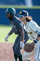 Michigan State outfielder Zaid Walker (3) leads off first base against the Michigan Wolverines on March 21, 2021 in NCAA baseball action at Ray Fisher Stadium in Ann Arbor, Michigan. Michigan scored 8 runs in the bottom of the ninth inning to defeat the Spartans 8-7. (Andrew Woolley/Four Seam Images)