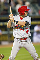 Memphis Redbirds outfielder Gary Brown (46) at bat during Pacific Coast League game against the Round Rock Express on April 21, 2015 at the Dell Diamond in Round Rock, Texas. Round Rock defeated Memphis 2-1. (Andrew Woolley/Four Seam Images)