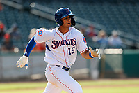 Tennessee Smokies third baseman Chase Strumpf (19) hustles to first base against the Rocket City Trash Pandas at Smokies Stadium on July 2, 2021, in Kodak, Tennessee. (Danny Parker/Four Seam Images)