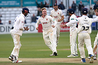 Simon Harmer of Essex celebrates taking the wicket of Nick Compton during Essex CCC vs Middlesex CCC, Specsavers County Championship Division 1 Cricket at The Cloudfm County Ground on 29th June 2017