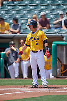 Matt Thaiss (6) of the Salt Lake Bees at bat against the Las Vegas Aviators at Smith's Ballpark on June 27, 2021 in Salt Lake City, Utah. The Aviators defeated the Bees 5-3. (Stephen Smith/Four Seam Images)