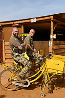 MALI, Gao, Minusma UN peace keeping mission, Camp Castor, german army Bundeswehr, field post office / Feldpostamt, Hauptfeldwebel Dirk Bartosch und Stabsfeldwebel Oliver Zimmers, links