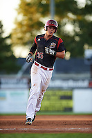 Batavia Muckdogs designated hitter Branden Berry (35) running the bases after hitting a home run during a game against the Hudson Valley Renegades on August 2, 2016 at Dwyer Stadium in Batavia, New York.  Batavia defeated Hudson Valley 2-1. (Mike Janes/Four Seam Images)