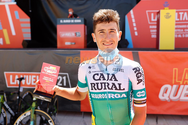 Julen Amezqueta (ESP) Caja Rural-Seguros RGA most aggressive rider from yesterday's stage at sign on before Stage 3 of La Vuelta d'Espana 2021, running 202.8km from Santo Domingo de Silos to Picon Blanco, Spain. 16th August 2021.    <br /> Picture: Luis Angel Gomez/Photogomezsport   Cyclefile<br /> <br /> All photos usage must carry mandatory copyright credit (© Cyclefile   Luis Angel Gomez/Photogomezsport)