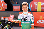 Julen Amezqueta (ESP) Caja Rural-Seguros RGA most aggressive rider from yesterday's stage at sign on before Stage 3 of La Vuelta d'Espana 2021, running 202.8km from Santo Domingo de Silos to Picon Blanco, Spain. 16th August 2021.    <br /> Picture: Luis Angel Gomez/Photogomezsport | Cyclefile<br /> <br /> All photos usage must carry mandatory copyright credit (© Cyclefile | Luis Angel Gomez/Photogomezsport)