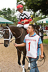 08-15-10: Dubai Majesty, Miguel Mena up, wins the Incredible Revenge Stakes.