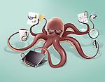 Illustrative image of octopus multi tasking over colored background