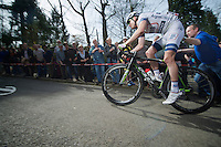 77th Flèche Wallonne 2013..Thomas Peterson (USA) pushed up the Mur de Huy