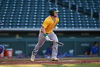 AZL Athletics Gold Kyle McCann (33) hits an RBI-double to right field during an Arizona League game against the AZL Cubs 1 at Sloan Park on June 20, 2019 in Mesa, Arizona. AZL Athletics Gold defeated AZL Cubs 1 21-3. (Zachary Lucy/Four Seam Images)