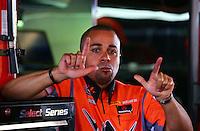 Apr 27, 2014; Baytown, TX, USA; NHRA top fuel dragster driver J.R. Todd during the Spring Nationals at Royal Purple Raceway. Mandatory Credit: Mark J. Rebilas-