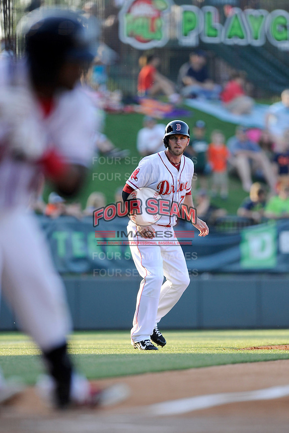 Boston Red Sox shortstop Stephen Drew (7) take a lead off third base in the first inning for the Class A Greenville Drive on a tuneup assignment in a game against the Augusta GreenJackets on Friday, May 23, 2014, at Fluor Field at the West End in Greenville, South Carolina. (Tom Priddy/Four Seam Images)