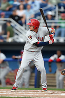Auburn Doubledays outfielder Clay Williamson (23) at bat during a game against the Batavia Muckdogs on August 31, 2014 at Dwyer Stadium in Batavia, New York.  Batavia defeated Auburn 7-6.  (Mike Janes/Four Seam Images)