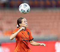 HOUSTON, TX - SEPTEMBER 10: Shea Groom #6 of the Houston Dash heads the ball away from her goal during a game between Chicago Red Stars and Houston Dash at BBVA Stadium on September 10, 2021 in Houston, Texas.