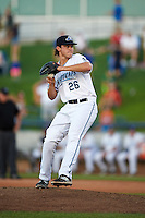 West Michigan Whitecaps relief pitcher Ryan Milton (26) during a game against the Burlington Bees on July 25, 2016 at Fifth Third Ballpark in Grand Rapids, Michigan.  West Michigan defeated Burlington 4-3.  (Mike Janes/Four Seam Images)