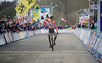 2015 World Champion Mathieu Van der Poel (NLD/BKCP-Powerplus) crossing the finish line<br /> <br /> Elite Men's race<br /> <br /> 2015 UCI World Championships Cyclocross <br /> Tabor, Czech Republic