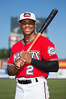 Carolina Mudcats outfielder Corey Ray (2) poses for a photo following the game against the Winston-Salem Dash at Five County Stadium on May 14, 2017 in Zebulon, North Carolina.  The Mudcats walked-off the Dash 11-10.  (Brian Westerholt/Four Seam Images)