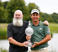 4th July 2021; Mount Juliet Golf Club, Kilkenny, Ireland; Dubai Duty Free Irish Open Golf, Day Four; Lucas Herbert of Australia poses with the winners trophy with his caddy Nick Pugh