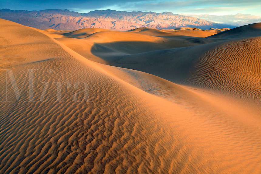 Sand dunes near Stovepipe Wells and the Cottonwood Mountains, Death Valley National Park, California