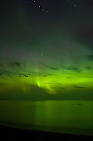 The Northern Lights photographed over Lake Superior. Marquette, MI