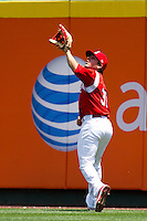 Alan Ahmady (38) of the Springfield Cardinals tracks down a fly ball to right field during a game against the San Antonio Missions on May 30, 2011 at Hammons Field in Springfield, Missouri.  Photo By David Welker/Four Seam Images