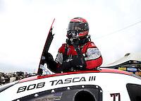 Apr 26, 2014; Baytown, TX, USA; NHRA funny car driver Bob Tasca III during qualifying for the Spring Nationals at Royal Purple Raceway. Mandatory Credit: Mark J. Rebilas-