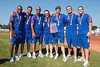 22 August 2010: Gerardo Leroux, Jamel Boutagra, Keino Perez, Rodolphe Le Meur, Boris Rothermundt, Jean-Michel Mayeur, Vincent Ferreira, pose with the trophy at the 2010 European Championship, under 21, in Brno, Czech Republic.
