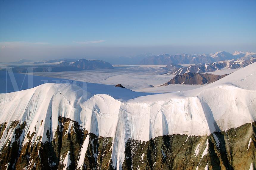 The a piedmont glacier (Nabesna) and mountains, snow and ice near Mount Blackburn (16,390 feet) in Wrangell Saint Elias National Park and Preserve, Alaska
