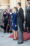 "King Felipe VI of Spain and Queen Letizia during award ceremony of literature in Spanish ""Miguel de Cervantes"" to Mr. Fernando del Paso Morante at University of Alcala de Henares in Madrid.  April 23, 2016. (ALTERPHOTOS/BorjaB.Hojas)"