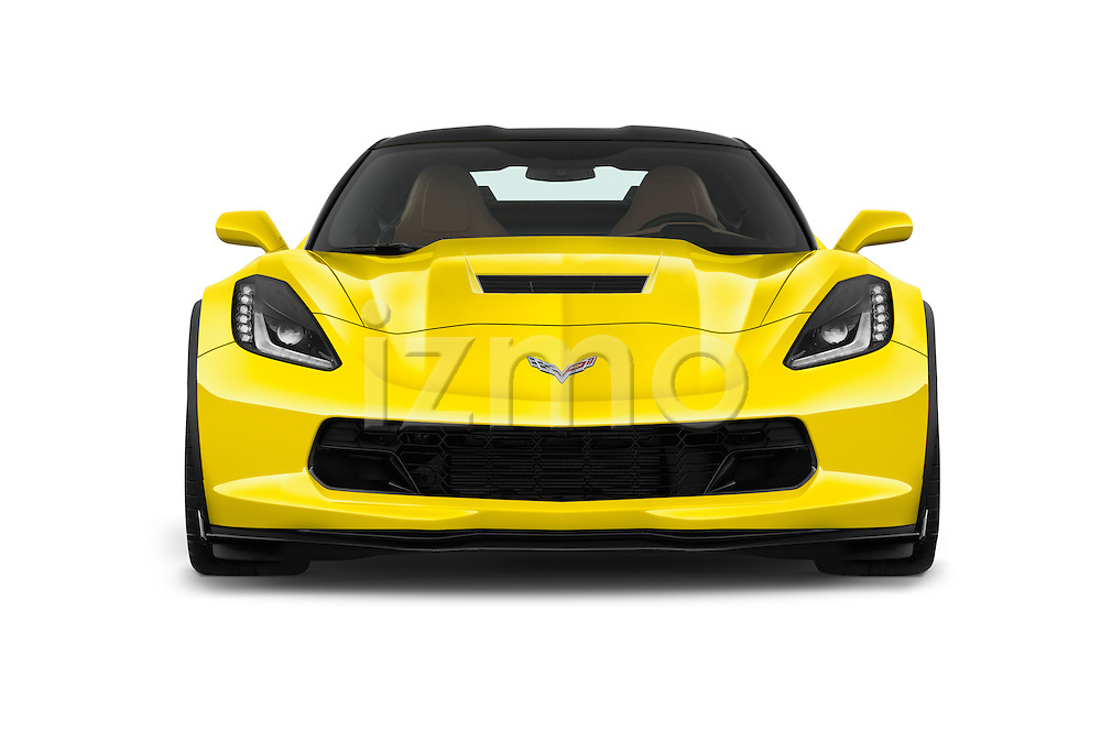 Car photography straight front view of a 2018 Chevrolet Corvette Grand-Sport-2LT 3 Door Coupe Front View