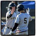 Designated hitter Hudson Byorick (33) of the Wofford Terriers is greeted by Brett Rodriguez after scoring a run in a game against the Presbyterian Blue Hose on Wednesday, March 6, 2019, at the PC Baseball Complex, Clinton, South Carolina. PC won, 5-4. (Tom Priddy/Four Seam Images)