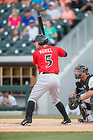 Brent Morel (5) of the Indianapolis Indians at bat against the Charlotte Knights at BB&T BallPark on June 20, 2015 in Charlotte, North Carolina.  The Knights defeated the Indians 6-5 in 12 innings.  (Brian Westerholt/Four Seam Images)