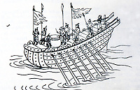 """World Civilization:  Chinese Ships--Han Dynasty 206 B.C. - 220 A.D.  A zouke,  """"swift mult-oared attack boat"""".  Louise Levathes, WHEN CHINA RULED THE SEAS."""