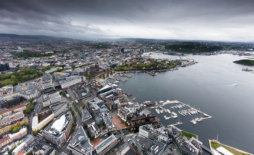 Oslo fra lufta, 20150519. Oslo sentrum. Foto: Eirik Helland Urke